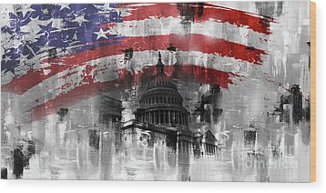 Wood Print featuring the painting Washington Dc Building 01a by Gull G