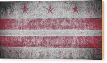 Wood Print featuring the digital art Washington Dc City Flag by JC Findley