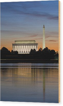 Washington Dc From The Potomac River Wood Print by Brendan Reals