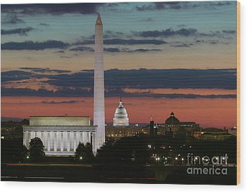 Washington Dc Landmarks At Sunrise I Wood Print