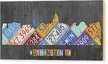 Washington Dc Skyline Recycled Vintage License Plate Art Wood Print