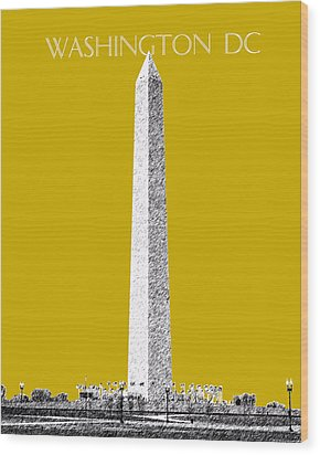 Washington Dc Skyline Washington Monument - Gold Wood Print by DB Artist
