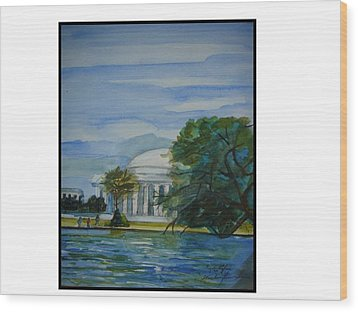 Washington Dc View Wood Print by Angela Puglisi