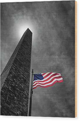 Washington Monument And The Stars And Stripes Wood Print by Andrew Soundarajan