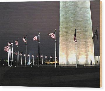Washington Monument At Night Wood Print by Artistic Photos