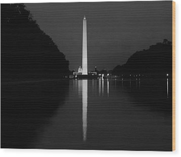 Washington Monument Reflecting Wood Print by Artistic Photos
