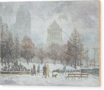 Washington Park In St.louis Winter Wood Print