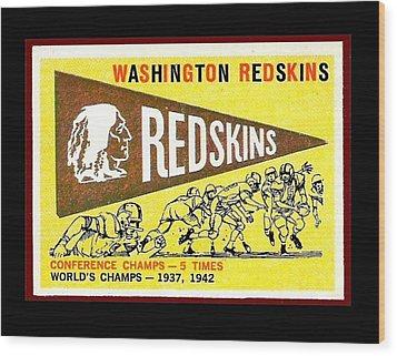 Washington Redskins 1959 Pennant Card Wood Print by Paul Van Scott