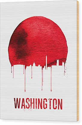Washington Skyline Red Wood Print by Naxart Studio
