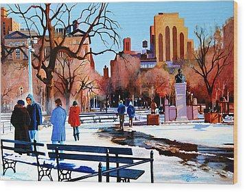 Washington Square Wood Print by John Tartaglione