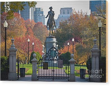 Washington Statue In Autumn Wood Print by Susan Cole Kelly