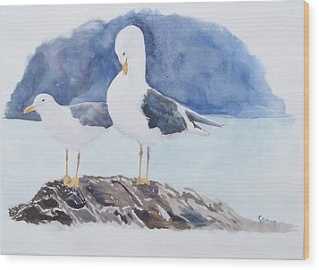 Washington - Two Gulls Wood Print by Christine Lathrop