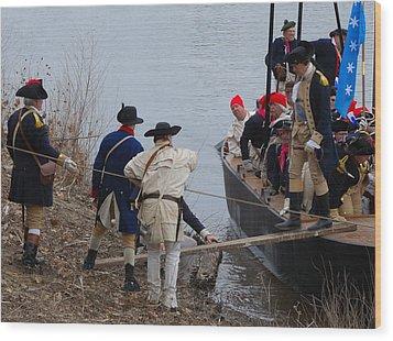 Wood Print featuring the photograph Washington's Crossing 2010--washington Comes Ashore by Steven Richman