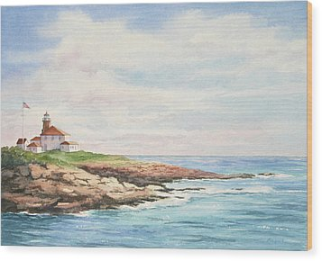 Wood Print featuring the painting Watch Hill Light by Vikki Bouffard