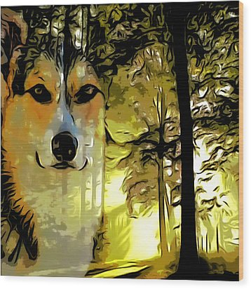Wood Print featuring the digital art Watcher Of The Woods by Kathy Kelly