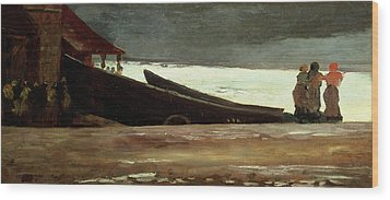 Watching A Storm On The English Coast Wood Print by Winslow Homer