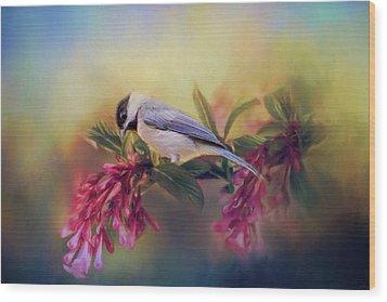 Watching Flowers Bloom Bird Art Wood Print by Jai Johnson