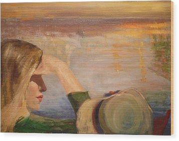 Watching The Sails Wood Print by Irena  Jablonski