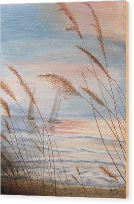 Watching The Sails Wood Print by Maris Sherwood