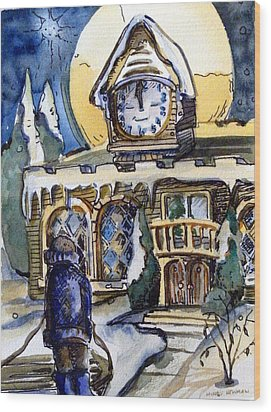 Watching The Village Clock Wood Print by Mindy Newman