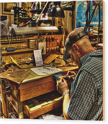 Watchmaker Wood Print by William Wetmore