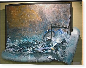 Wood Print featuring the mixed media Water Abstract #31017 by Robert Anderson