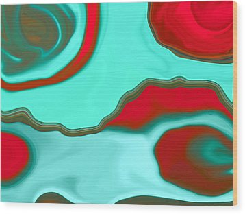 Water Abstract2 Wood Print by Linnea Tober