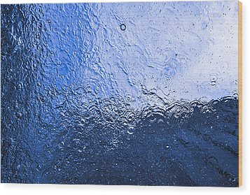 Water Abstraction - Blue Reflection Wood Print by Alex Potemkin