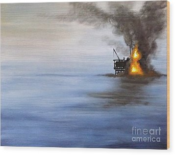 Water And Air Pollution Wood Print