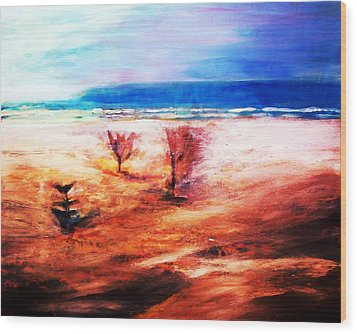 Wood Print featuring the painting Water And Earth by Winsome Gunning