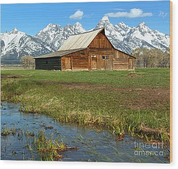 Water By The Barn Wood Print by Adam Jewell