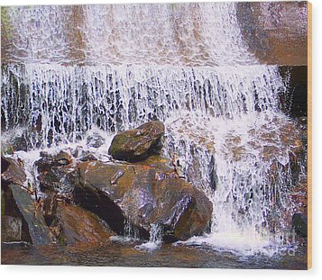 Wood Print featuring the photograph Water Cascade by Roberta Byram