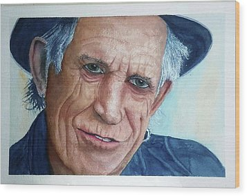 Water Color Keith Richards Wood Print