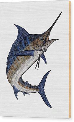 Water Color Tribal Marlin IIi Wood Print by Carol Lynne