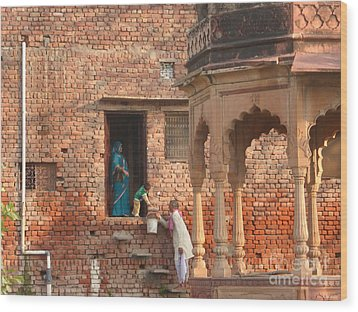 Wood Print featuring the photograph Water Delivery In Vrindavan by Jean luc Comperat