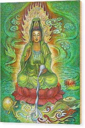 Water Dragon Kuan Yin Wood Print by Sue Halstenberg