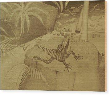 Water Dragon Lizard Wood Print by Brian Leverton