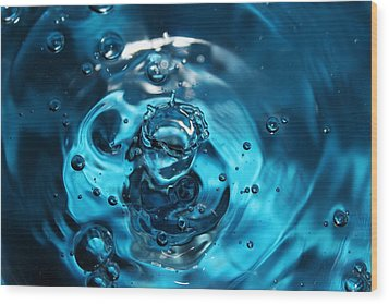 Water Drop In Blue Wood Print