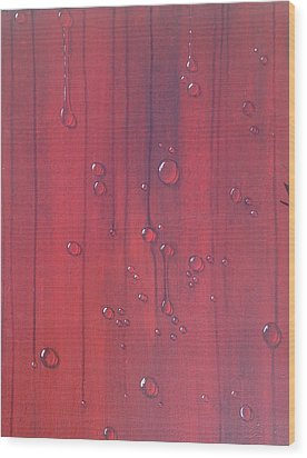 Water Drops On Red Wood Print