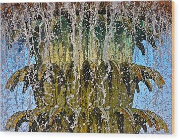 Water Fountain Light Charleston Wood Print by Lori Kesten