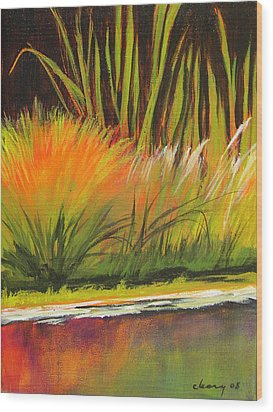 Water Garden Landscape 5 Wood Print by Melody Cleary