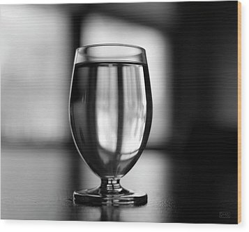 Water Glass I Bw Wood Print by David Gordon