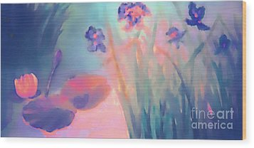 Water Iris Wood Print by Holly Martinson