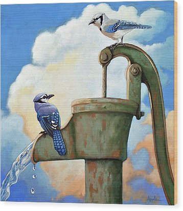 Wood Print featuring the painting Water Is Life #3 -blue Jays On Water Pump Painting by Linda Apple