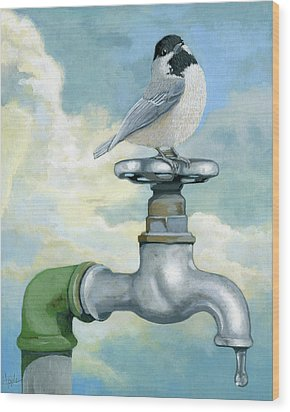 Wood Print featuring the painting Water Is Life - Realistic Painting by Linda Apple