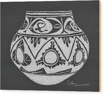 Water Jug - San Ildefonso Circa 1900 Wood Print by Diane Cutter