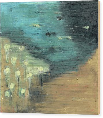 Wood Print featuring the painting Water Lilies At The Pond by Michal Mitak Mahgerefteh
