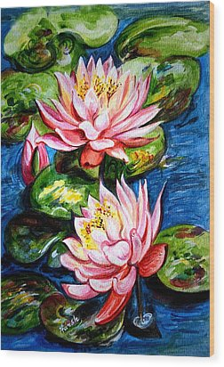 Wood Print featuring the painting Water Lilies  by Harsh Malik
