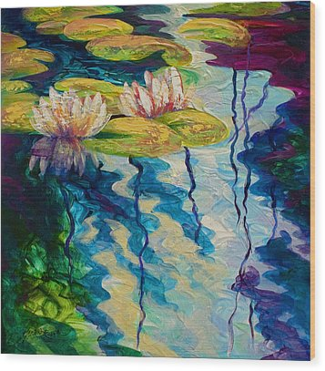 Water Lilies I Wood Print by Marion Rose