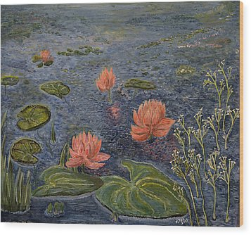 Water Lilies Lounge Wood Print